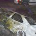 Dos heridos leves tras un aparatoso accidente con posterior incendio de un vehículo en Lerín